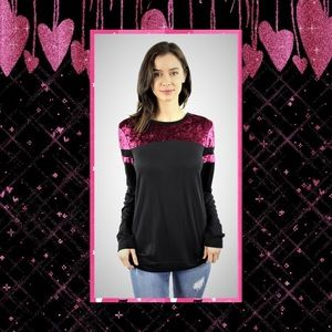 JUST IN🆕Black/Fuchsia Velvet Detail Long Sleeve